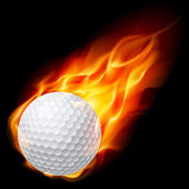 Golf ball on fire — Stock Vector