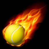 Flammande tennisboll — Stockvektor