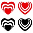 Abstract Valentine heart set — Stock Vector