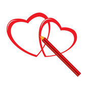 Red pencil and heart — Stock Vector