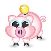 Piggy bank and money — Stock Vector