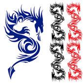 亚洲纹身龙. — 图库矢量图片