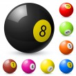 Billiard balls out of American billiards — Stock Vector