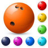 Set of bowling balls — Stock Vector