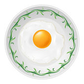 Fried egg on plate — Vecteur