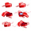 Set of Red boxes in heart shape — Stock Vector