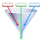 An image of a three stage funnel chart. — Stock Photo