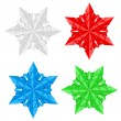 Four colorful paper snowflakes — Stock Vector