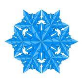 Copo de nieve de papel azul — Vector de stock