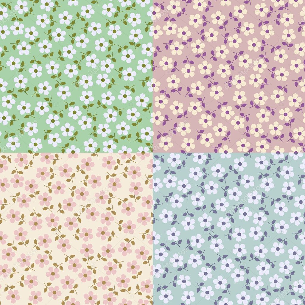 Set of Flower seamless patterns. Illustration for design  Stock Vector #7891932