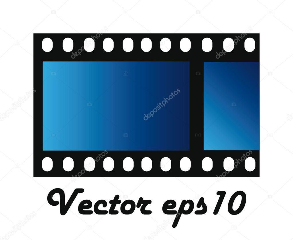 Blue photo film isolated over white background — Stock Vector #7805169