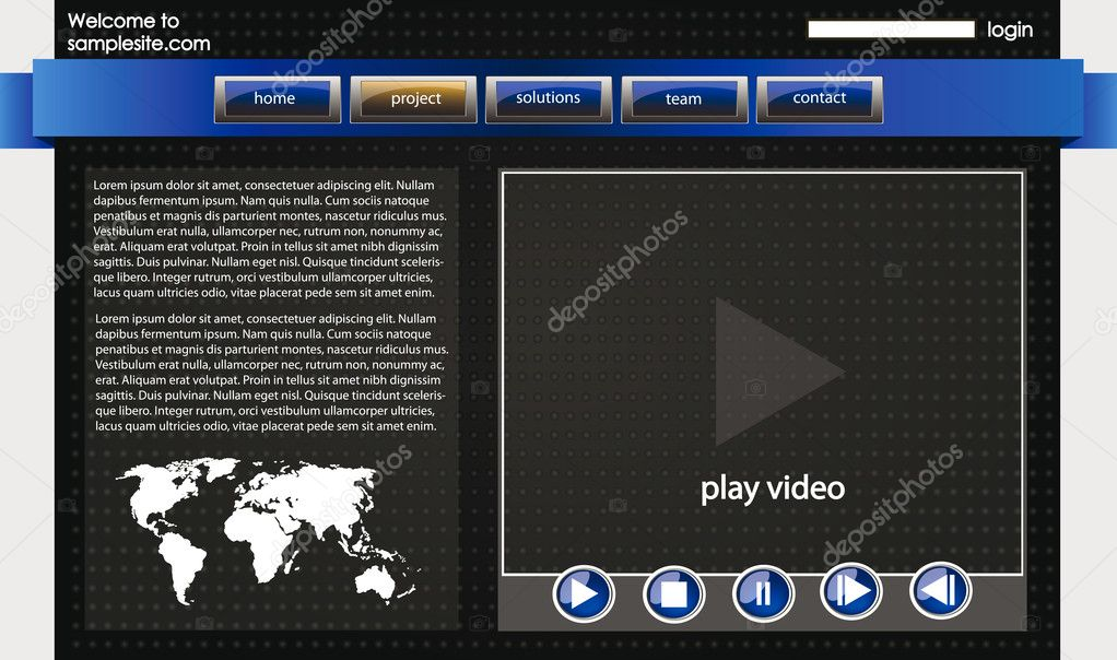 Web site design template for company with dark background, white frame, arrows, map of the world and video player  Stock Vector #7805516