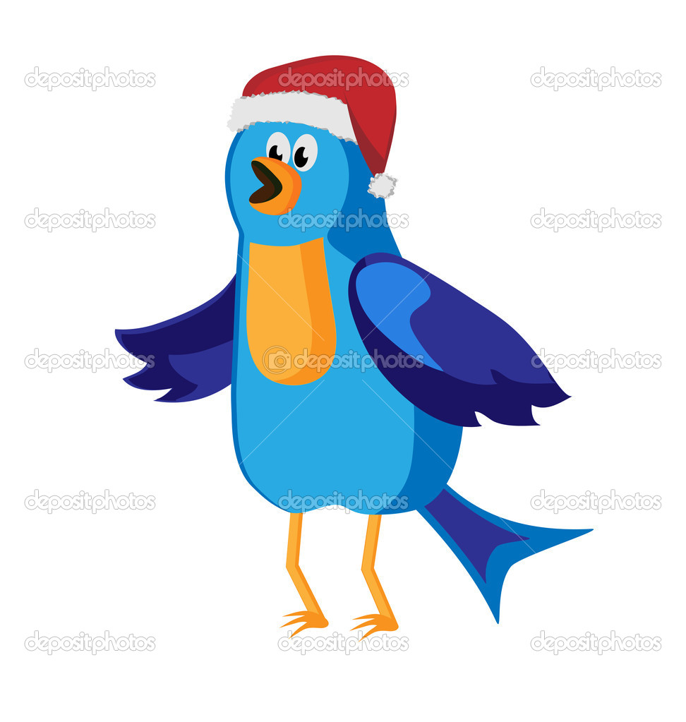 Twitter bird communication at Christmas time. connection concept — Stock Vector #7571802