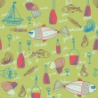 Restaurant seamless pattern with fishes — Stock Vector