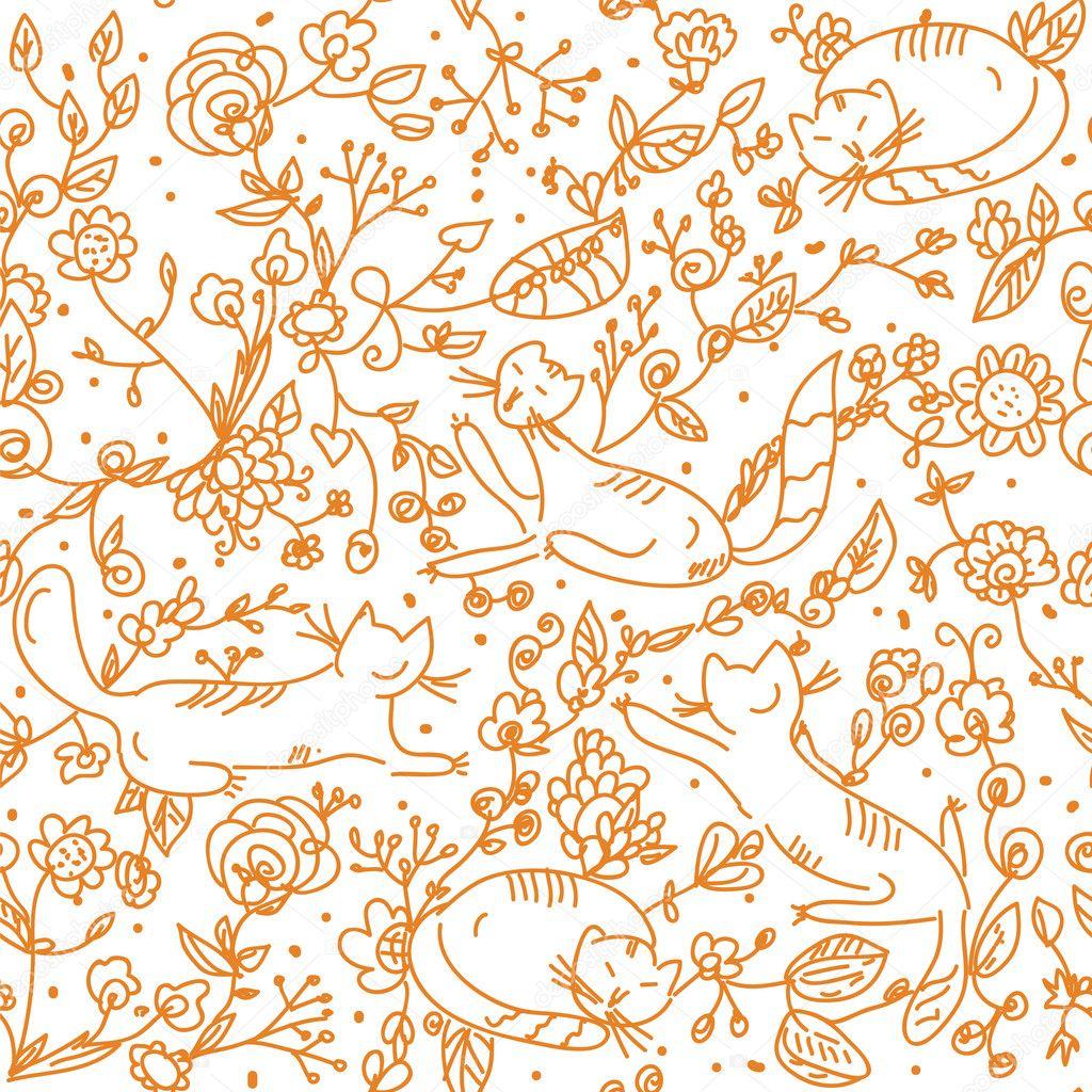 #B66215 Papel de parede floral sem costura com gatos – Ilustração de Stock 1024x1024 px papel de parede floral banheiro
