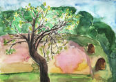 Watercolor landscape with tree — Stock Photo