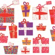 Set of gifts with pattern — Stock Vector