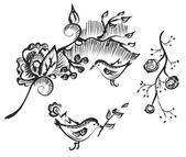 Bird and flower design — Stock Vector