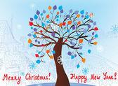 Kerstkaart met boom — Stockvector