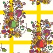 图库矢量图片: Seamless pattern with autumn flowers and fruits