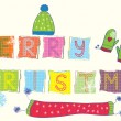 Stock Vector: Merry christmas text funny banner
