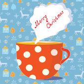 Christmas cup of tea — Stock Vector