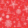 Stock Vector: Christmas red seamless wallpaper