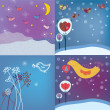 Christmas background set with birds — Image vectorielle