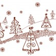 Christmas trees landscape graphic - Image vectorielle