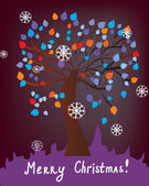 Christmas card with tree — Stock Vector