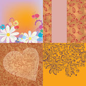 Floral backgrounds romantic set — Stok Vektör