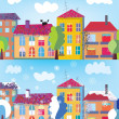 Town in summer and winter banner — Stock Vector