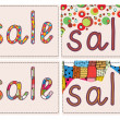 Sale card funny background set — 图库矢量图片