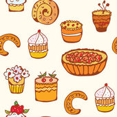 Cupcakes and backing seamless pattern — Stock Vector