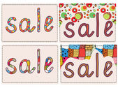Sale card funny background set — Stock Vector