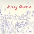 Retro christmas card with town — Stockvectorbeeld