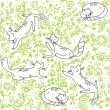 Vector de stock : Seamless floral wallpaper with cats