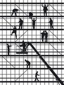 Werknemers in de bouw op wit — Stockvector
