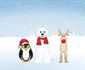 Penguins, polar bears and reindeer are celebrating Christmas — Stock Vector
