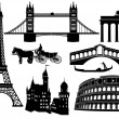Stock Vector: Main cities and sights in Europe