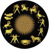 Zodiac gold on black — Stock Vector