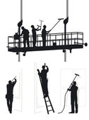 Window cleaners at work — Stock Vector
