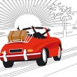 Relaxing holidays by car — Stock Vector