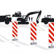 Stock Vector: Road construction and road block