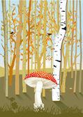 Forest with mushroom — Stockvector