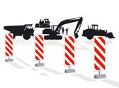 Road construction and road block — Stock Vector