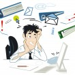 Stock Vector: Stress at your desk
