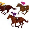 Jockeys at races — Stock Vector #7619553