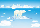 Polar bears and icebergs — Stock Vector
