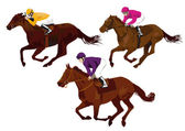 Jockeys at the races — Stock Vector